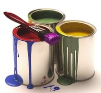 paints mixed colors